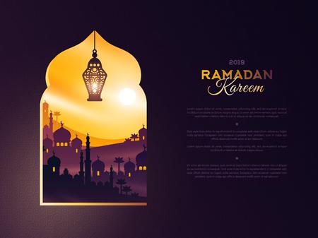 Ramadan Kareem-venster bij zonsondergang