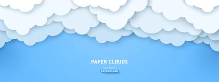 Bewölkte Paperart-Vektor-Illustration. Volumetrisches cloudscape horizontaler Hintergrund. 3D überlappendes Papier geschnittene Wolkenfahne. Postkarte mit blauem Himmel, Grußkarte Vektorgrafik