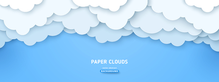 Cloudy paperart vector illustration. Volumetric cloudscape horizontal background. 3d overlapping paper cut clouds banner. Blue sky postcard, greeting card Vettoriali