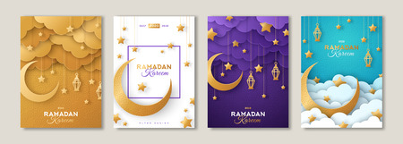 Ramadan Kareem set of posters or invitations design with 3d paper cut islamic lanterns, stars and moon on gold and violet background. Vector illustration. Place for text