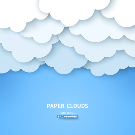Cloudy volumetric banner template. Papercut cloudscape with text space. Blue sky background with overcast clouds. 3d origami paperart, poster backdrop.