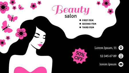 Flyer or card template with woman