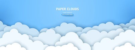 Beautiful fluffy clouds on blue sky background. Vector illustration. Paper cut style. Place for text Ilustração