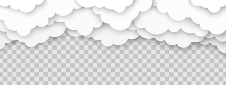 Clouds 3d vector illustration. Horizontal papercut cloudscape on transparent background.