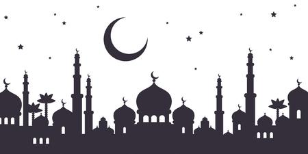 Arabische stad zwart silhouet