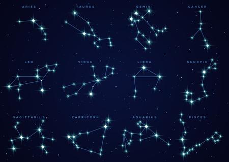 Zestaw konstelacji zodiaku Ilustracje wektorowe