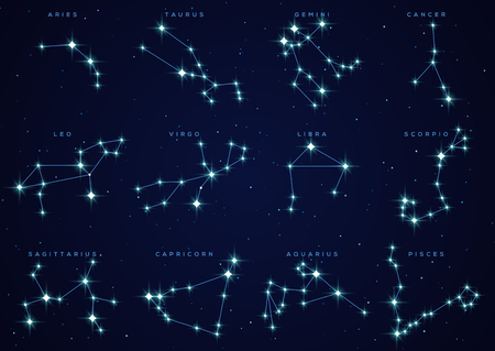Zodiac constellations set Stock Illustratie