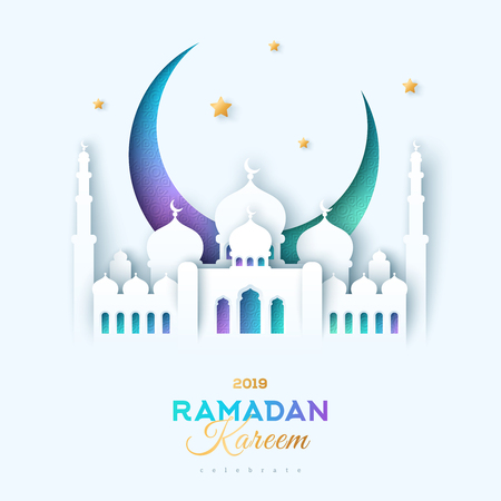 Paper cut mosque and moon Illustration