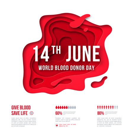 Medical concept poster or flyer with red abstract paper cut shape. 14 june - World blood donor day. Place for text. Vector illustration.  イラスト・ベクター素材