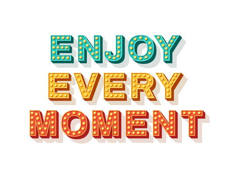 Enjoy every moment. Motivational poster design, retro font colorful typography. Text lettering, inspirational positive saying. Quote typographic template, vector illustration.  イラスト・ベクター素材