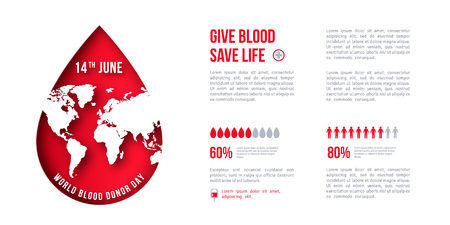 Medical concept poster with red paper cut drop and map. World blood donor day. Place for text. Vector illustration.