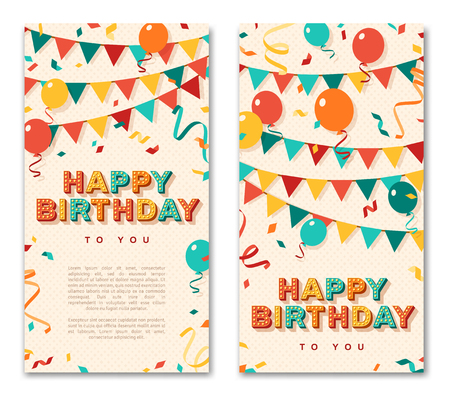 Happy Birthday greeting cards, vertical banners with retro typography design. Vector illustration. 3d colorful letters with vintage light bulbs. Streamers, confetti and hanging bunting.  イラスト・ベクター素材