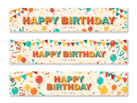 Happy Birthday greeting cards, horizontal banners with retro typography design. Vector illustration. 3d colorful letters with vintage light bulbs. Streamers, confetti and hanging bunting.
