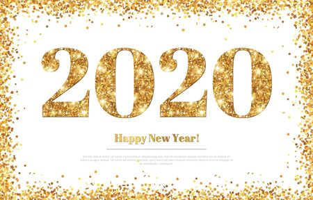 Happy New Year 2020 Greeting Card with Gold Numbers and Confetti Frame on White Background. Vector Illustration. Merry Christmas Flyer or Poster Design