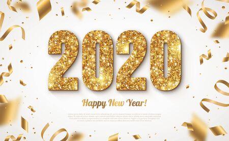 Bannière de bonne année avec des numéros d'or 2020 sur fond clair avec des confettis volants et des banderoles. Illustration vectorielle Vecteurs