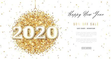 Feliz año nuevo 2020 tarjeta de felicitación con números. Bola de Navidad con textura de polvo dorado sobre fondo blanco. Ilustración de vector.
