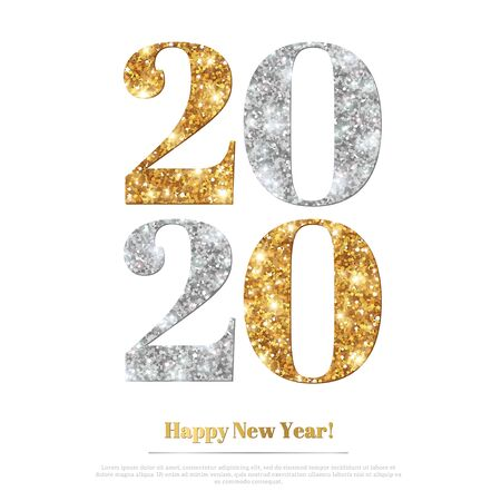 2020 glitter New Year Ilustrace