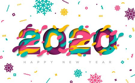Happy New Year 2020 typography design with abstract paper cut shapes and confetti with snowflakes. Vector illustration.  イラスト・ベクター素材