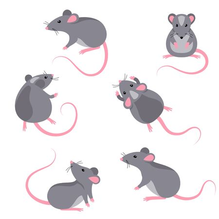 Conjunto de personajes de ratas. Ilustración de vector