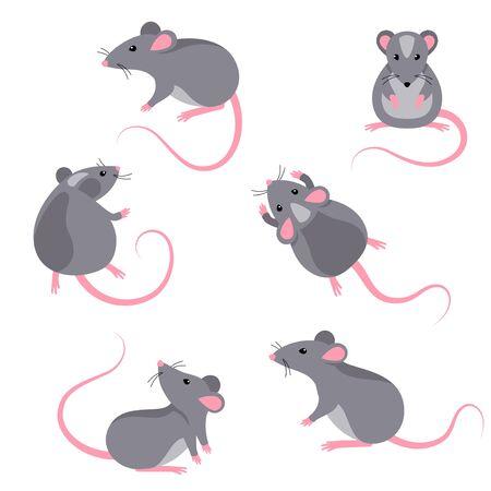 Satz von Rattenfiguren Vektorgrafik