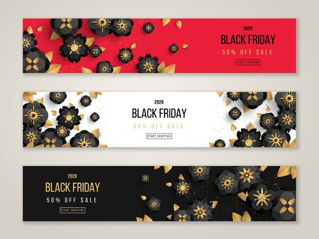 Black Friday sale horizontal banners set with gold confetti and flowers. Vector illustration.