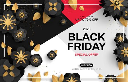 Black Friday sale poster with flowers on geometric background with gold confetti and frame. Vector illustration. Typography template for text.  イラスト・ベクター素材