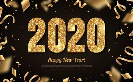 2020 año nuevo oro sobre negro