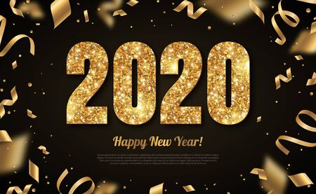 2020 New Year gold on black 免版税图像 - 127153510