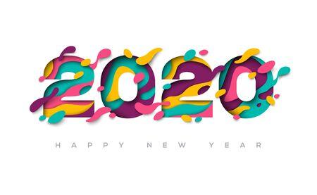 Tarjeta de felicitación de feliz año nuevo 2020 con formas de corte de papel abstracto 3d sobre fondo blanco. Ilustración de vector. Ilustración de vector