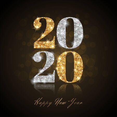 Año nuevo 2020 en negro