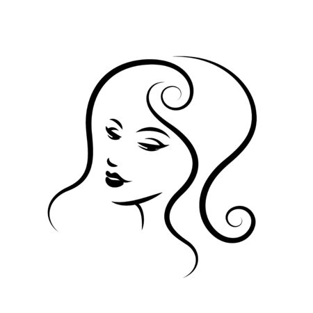 Woman face logo design Stock Vector - 127153539