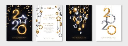 Christmas and New Year posters set with hanging gold and silver 3d baubles and 2019 numbers. Vector illustration. Winter holiday invitations with geometric decorations Ilustração