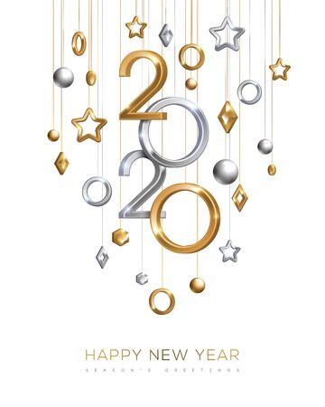 Año Nuevo de oro y plata 2020 Ilustración de vector