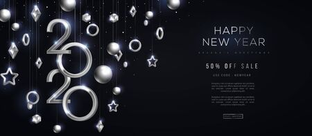 Christmas and New Year banner with hanging silver 3d baubles and 2020 numbers on black background. Vector illustration. Winter holiday geometric decorations. Illustration