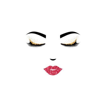 Closed eyes and pink lips icon 版權商用圖片 - 127753106