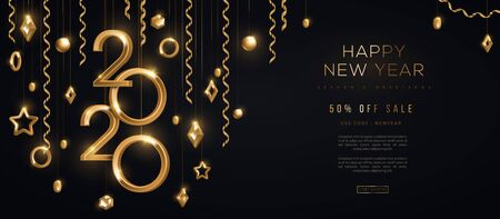 Christmas and New Year banner with hanging gold 3d baubles and 2020 numbers on black background. Vector illustration. Winter holiday geometric decorations and streamers. Place for text