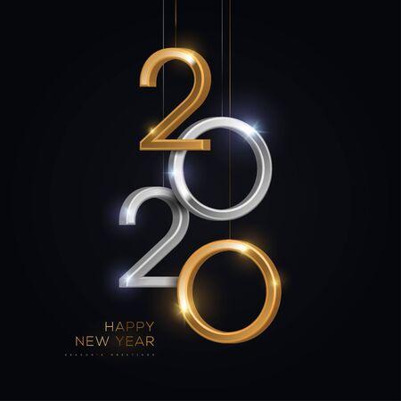 2020 números de plata y oro colgando sobre fondo negro. Ilustración vectorial. Diseño de invitación mínima para Navidad y año nuevo.