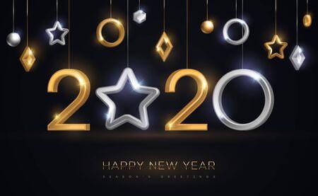 Adornos de año nuevo 2020 con estrella Ilustración de vector