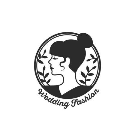 Woman face circle emblem 向量圖像