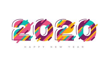 2020 Frohes neues Jahr bunt