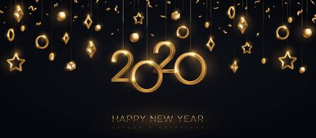 2020 New year gold numbers Иллюстрация
