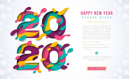 Happy New Year 2020 banner template with abstract paper cut numbers. Vector illustration. Colorful 3D carving art for posters, brochure or voucher discount.