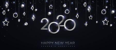 2020 números plateados con estrellas y adornos colgando sobre fondo negro. Ilustración de vector. Diseño de invitación mínima para Navidad y año nuevo. Decoraciones navideñas de invierno