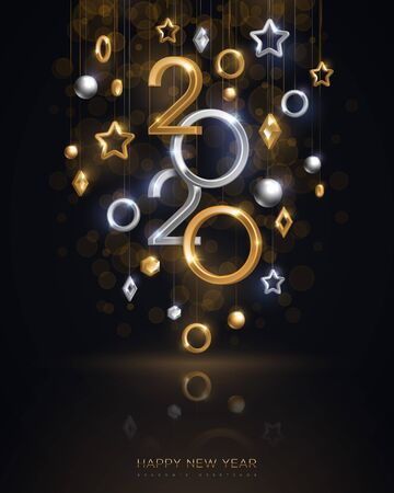 Christmas and New Year banner with hanging gold and silver 3d baubles and 2020 numbers on black background. Vector illustration. Winter holiday geometric decorations 写真素材 - 128504999