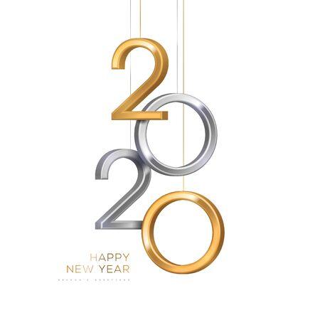 2020 numeri d'argento e d'oro appesi su sfondo bianco. Illustrazione vettoriale. Design minimale dell'invito per Natale e Capodanno. Vettoriali