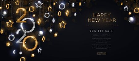 2020 New Year baubles Иллюстрация