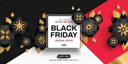Black Friday sale poster with flowers on geometric background, gold confetti and square frame. Vector illustration. Typography template for text.