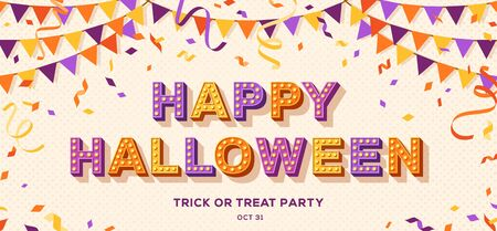 Happy Halloween card or banner with typography design. Vector illustration with retro light bulbs font, streamers, confetti and hanging flag garlands. 写真素材 - 128505004