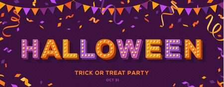 Happy Halloween card or banner with typography design on violet background. Vector illustration with retro light bulbs font, streamers, confetti and hanging flag garlands.