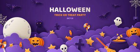 Happy Halloween banner of feestuitnodiging achtergrond met nachtwolken en pompoenen in papier knippen stijl. Vector illustratie. Volle maan aan de hemel, spinnenweb en vliegende vleermuizen. Plaats voor tekst Vector Illustratie